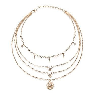 14647435cbed Mujer Multi capa Collares en capas Perla Artificial Diamante Sintético Sol  Estrella Moda Modern Cool Dorado