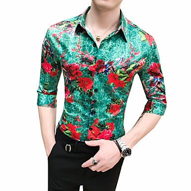 economico Abbigliamento uomo-Camicia Per uomo Fantasia geometrica Colletto classico Verde XL / Taglia piccola