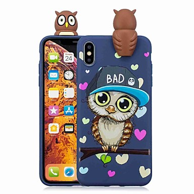 voordelige iPhone 7 hoesjes-hoesje Voor Apple iPhone XS / iPhone XR / iPhone XS Max Patroon Achterkant Cartoon / Uil Zacht TPU