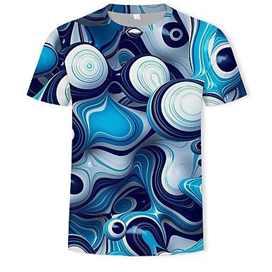 economico Abbigliamento uomo-T-shirt Per uomo Con stampe, Fantasia geometrica / Monocolore / 3D Rotonda - Cotone Blu XL