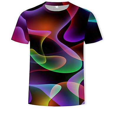 abordables Ropa de Moda Hombres-Hombre Estampado - Algodón Camiseta, Escote Redondo 3D Arco Iris XXXXL / Manga Corta / Verano