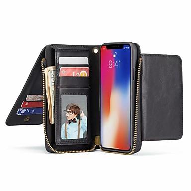 voordelige iPhone 6 hoesjes-hoesje Voor Apple iPhone XS / iPhone XR / iPhone XS Max Portemonnee / Kaarthouder / met standaard Volledig hoesje Effen Hard aitoa nahkaa