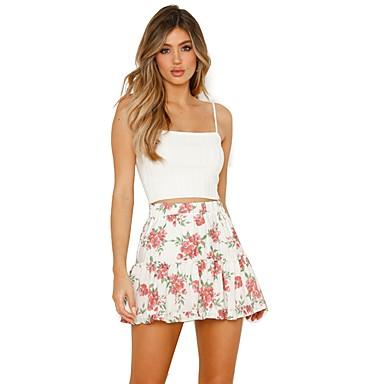 billige Nederdele-Dame Basale A-linje Nederdele Blomstret