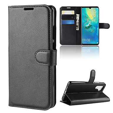 tok Για Huawei Huawei P30 / Huawei P30 Pro Πορτοφόλι / Θήκη καρτών / Ανοιγόμενη Πλήρης Θήκη Μονόχρωμο Σκληρή PU δέρμα για Huawei P20 / Huawei P20 Pro / Huawei P20 lite