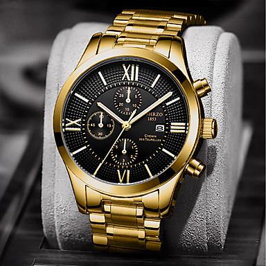 Недорогие Часы на металлическом ремешке-Муж. Нарядные часы Кварцевый Нержавеющая сталь Серебристый металл / Золотистый Защита от влаги Календарь Творчество Аналоговый Роскошь Мода - Белый Черный Золотой + черный