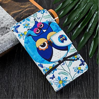 voordelige Galaxy J-serie hoesjes / covers-hoesje Voor Samsung Galaxy J6 (2018) / J5 (2017) / J4 (2018) Portemonnee / Kaarthouder / met standaard Volledig hoesje Uil Hard PU-nahka