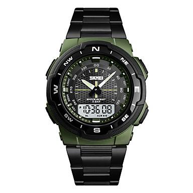 Недорогие Часы на металлическом ремешке-Муж. электронные часы Цифровой Нержавеющая сталь Черный / Серебристый металл / Золотистый Защита от влаги Секундомер С двумя часовыми поясами Аналого-цифровые На каждый день Мода -