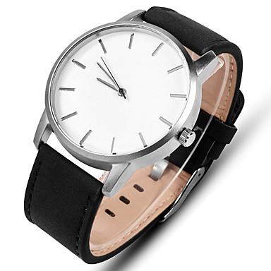 ราคาถูก นาฬิกาแบบสายหนัง-สำหรับผู้ชาย นาฬิกาแนวสปอร์ต นาฬิกาตกแต่งข้อมือ นาฬิกาข้อมือ นาฬิกาอิเล็กทรอนิกส์ (Quartz) หนัง ดำ / น้ำตาล นาฬิกาใส่ลำลอง ระบบอนาล็อก ไม่เป็นทางการ ที่เรียบง่าย ดูง่าย - สีดำ สีน้ำตาล สีดำและสีขาว