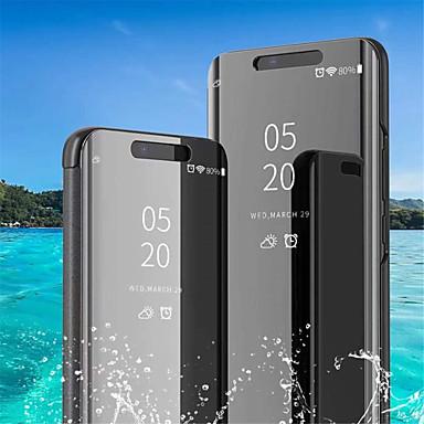 Недорогие Чехлы и кейсы для Galaxy S6-Кейс для Назначение SSamsung Galaxy S9 / S9 Plus / S8 Plus со стендом / Покрытие / Зеркальная поверхность Чехол Однотонный Мягкий Кожа PU