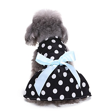 cheap Dog Clothing & Accessories-Dogs Dress Dog Clothes Polka Dot Character Bowknot White Pink Black / White Terylene Costume For Bichon Frise Schnauzer Pekingese Spring Summer Female Sweet Style Casual / Daily