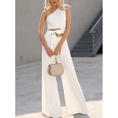 cheap Jumpsuits & Rompers-Women's White Black Wine Wide Leg Jumpsuit, Solid Colored XXXL XXXXL XXXXXL