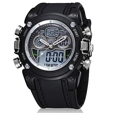 76584efff رخيصةأون ساعات الرجال-OHSEN رجالي ساعة رقمية كوارتز سيليكون مطاط أسود  رزنامه ساعة كاجوال تناظري
