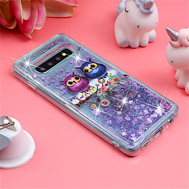 Case For Samsung Galaxy Galaxy S10 Plus / Galaxy S10 E Shockproof / Flowing Liquid / Pattern Back Cover Owl / Glitter Shine Soft TPU for S9 / S9 Plus / S8 Plus