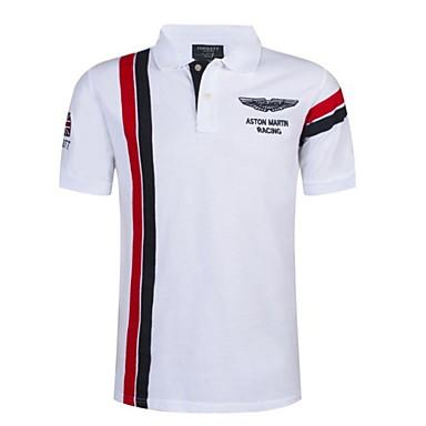 baratos Camiseta de Homen-Homens Polo Estampa Colorida Colarinho de Camisa Delgado Branco XXXXL