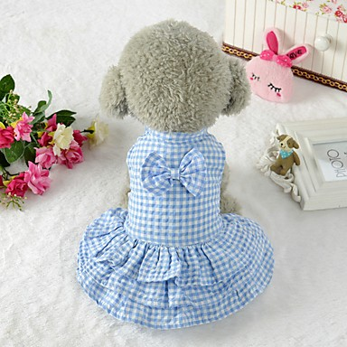 cheap Dog Clothing & Accessories-Dogs Dress Dog Clothes Plaid / Check Bowknot Blue Pink Terylene Costume For Corgi Beagle Bulldog Spring Summer Female Sweet Style Classic Style