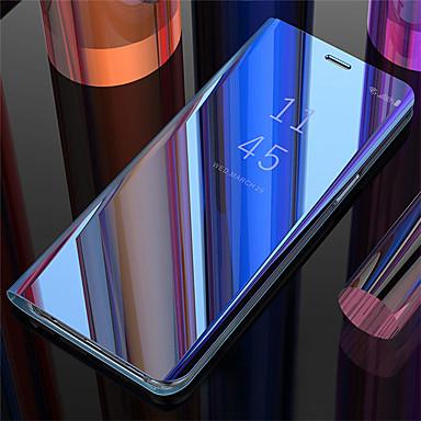 Недорогие Чехлы и кейсы для Galaxy S-Кейс для Назначение SSamsung Galaxy Galaxy S10 / Galaxy S10 Plus / Galaxy S10 E Зеркальная поверхность / Флип / Авто Режим сна / Пробуждение Кейс на заднюю панель Однотонный Твердый Кожа PU