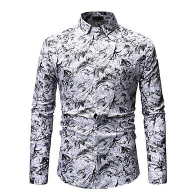 baratos Camiseta de Homen-Homens Camisa Social Geométrica Algodão Azul XL
