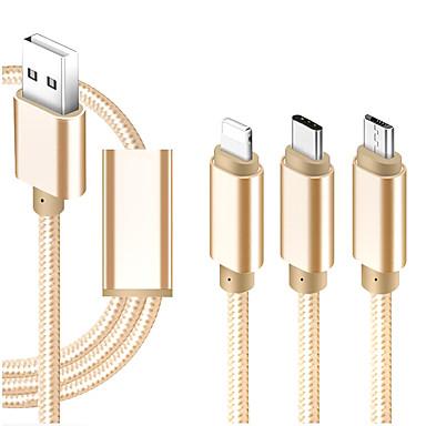 preiswerte Kabel & Adapter fürs Handy-Micro-USB / Beleuchtung / Typ-C Kabel 1m-1.99m / 3ft-6ft Alles in einem / Geflochten / 1 bis 3 Textil USB-Kabeladapter Für iPad / Samsung / Huawei