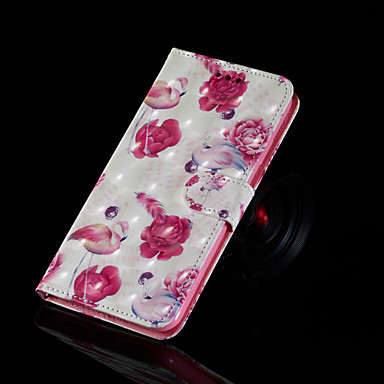 voordelige Galaxy S-serie hoesjes / covers-hoesje Voor Samsung Galaxy S9 / S9 Plus / S8 Plus met standaard / Flip / Patroon Volledig hoesje Flamingo Hard PU-nahka