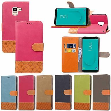 voordelige Galaxy J-serie hoesjes / covers-hoesje Voor Samsung Galaxy J7 Prime / J7 (2017) / J7 (2018) Kaarthouder / met standaard / Flip Volledig hoesje Effen / Geometrisch patroon Hard tekstiili
