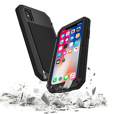 voordelige iPhone X hoesjes-hoesje Voor Apple iPhone XS / iPhone XR / iPhone XS Max Waterbestendig / Schokbestendig / Stofbestendig Volledig hoesje Schild Hard Gehard glas / Metaal