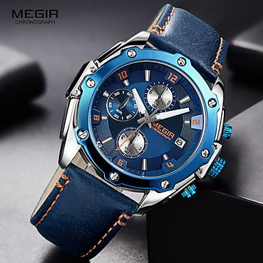 Χαμηλού Κόστους Ανδρικά ρολόγια-MEGIR Ανδρικά Αθλητικό Ρολόι Παρακολουθήστε την αεροπορία Υβριδικό ρολόι Ιαπωνικά Χαλαζίας Γνήσιο δέρμα Μαύρο / Καφέ / Μπλε της πισίνας 30 m Ανθεκτικό στο Νερό Ημερολόγιο Χρονογράφος Αναλογικό