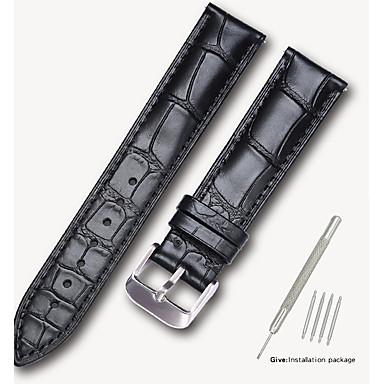 זול רצועות שעון-עור אמיתי / עור / Calf Hair צפו בנד רצועה ל שחור / חום 17cm / 6.69 אינץ ' / 18cm / 7 אינצ'ים / 19cm / 7.48 אינצ'ים 1.4cm / 0.55 אינצ'ים / 1.6cm / 0.6 אינצ'ים / 1.8cm / 0.7 אינצ'ים