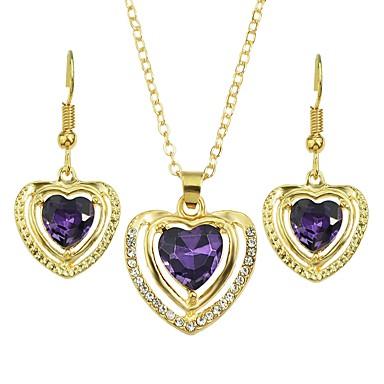 ieftine Seturi de Bijuterii-Pentru femei Cercei Picătură Coliere cu Pandativ Geometric Inimă Stilat Lux Dulce Cristal Austriac cercei Bijuterii Mov Pentru Zilnic 1set