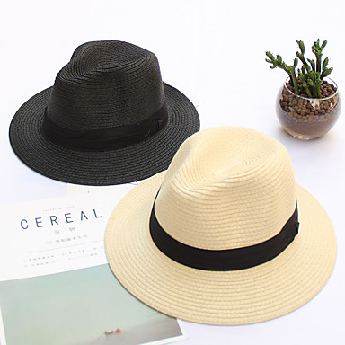 cheap Men's Hats-Men's Unisex Basic Straw Lace Bucket Hat Straw Hat Sun Hat-Solid Colored All Seasons Beige Light Brown Khaki