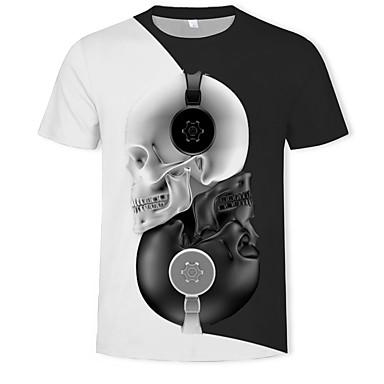 economico Abbigliamento uomo-T-shirt Per uomo Moda città / Esagerato Con stampe, Monocolore / 3D / Teschi Rotonda Nero XL / Manica corta