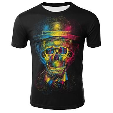 economico Abbigliamento uomo-T-shirt - Taglie forti Per uomo Con stampe, Arcobaleno / Teschi Rotonda - Cotone Nero XXL