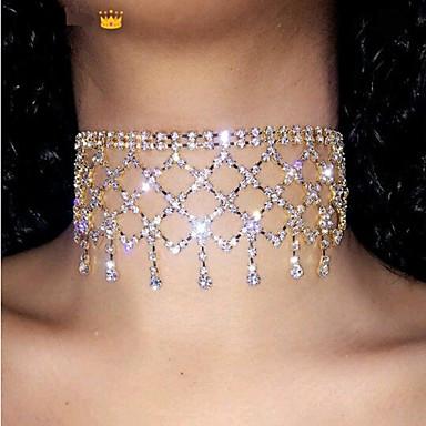 billige Mode Halskæde-Dame Kort halskæde Simuleret diamant Luksus Guld Sølv 30 cm Halskæder Smykker 1pc Til Bryllup Natklub