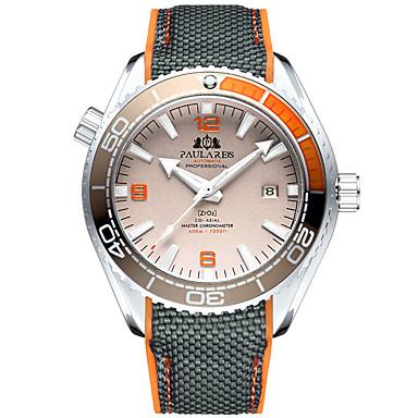 levne Pánské-Pánské mechanické hodinky Automatické natahování Pryž Černá 50 m Voděodolné Kalendář Svítící Analogové Módní Barevná - Oranžovo červená Modrá Růžová
