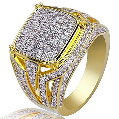 cheap Men's Rings-Men's Cubic Zirconia Classic Ring 18K Gold Plated Joy Stylish Ring Jewelry Gold For Party Daily 8 / 9 / 10 / 11 / 12