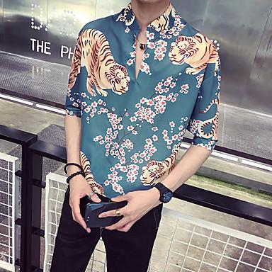 economico Abbigliamento uomo-Camicia Per uomo Moda città / Elegante Con stampe, Fantasia floreale / Animali Colletto Mao Verde XL