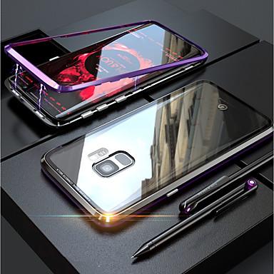 voordelige Galaxy S-serie hoesjes / covers-hoesje Voor Samsung Galaxy S9 / S9 Plus / S8 Plus Transparant / Magnetisch Volledig hoesje Effen Hard Gehard glas