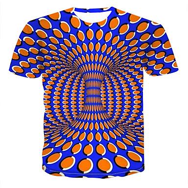 billige Herrers Mode Beklædning-Rund hals Herre - Farveblok / 3D / Grafisk Trykt mønster T-shirt Blå XXXXL