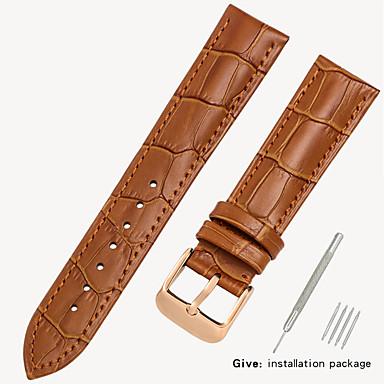 זול רצועות שעון-עור אמיתי / עור / Calf Hair צפו בנד רצועה ל שחור / חום 17cm / 6.69 אינץ ' / 18cm / 7 אינצ'ים / 19cm / 7.48 אינצ'ים 1.2cm / 0.47 אינצ'ים / 1.4cm / 0.55 אינצ'ים / 1.6cm / 0.6 אינצ'ים