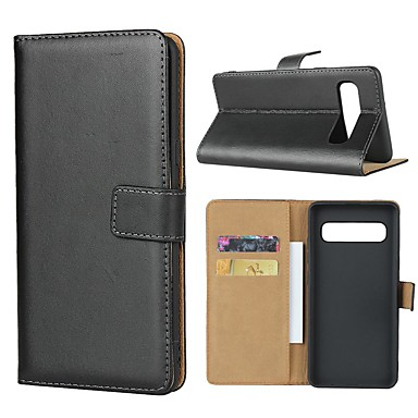 Недорогие Чехлы и кейсы для Galaxy S6-Кейс для Назначение SSamsung Galaxy S9 / S9 Plus / S8 Plus Кошелек / Бумажник для карт / со стендом Чехол Однотонный Твердый Настоящая кожа