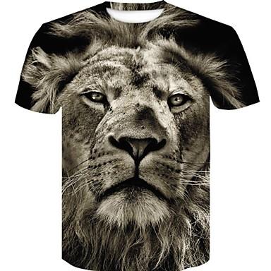 hesapli Erkek Moda Giyim-Erkek Pamuklu Yuvarlak Yaka İnce - Tişört Desen, 3D / Grafik / Hayvan Büyük Bedenler Siyah XXL