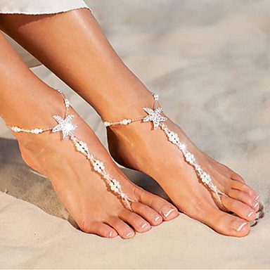 preiswerte Körperschmuck-Damen Barfußsandalen Seestern nette Art Künstliche Perle Fusskettchen Schmuck Weiß Für Alltag