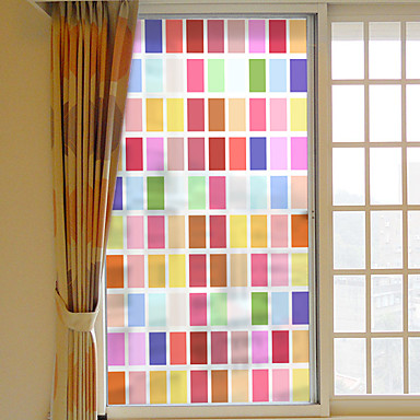 farve gitter aftagelig PVC vindue film&ampampe klistermærker dekoration geometrisk