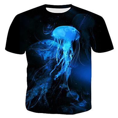 abordables Vêtements de Mode pour Hommes-Tee-shirt Taille EU / US Homme, 3D / Graphique / Animal - Coton Imprimé Punk & Gothique / Exagéré Col Arrondi Mince Noir XL / Manches Courtes