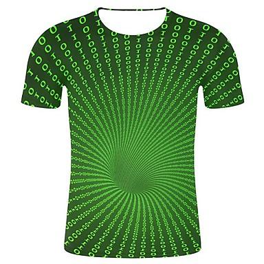 economico Abbigliamento uomo-T-shirt - Taglie forti Per uomo Importante / Art déco / Retrò Con stampe, Fantasia geometrica / 3D / Pop art Rotonda - Cotone Verde XXL