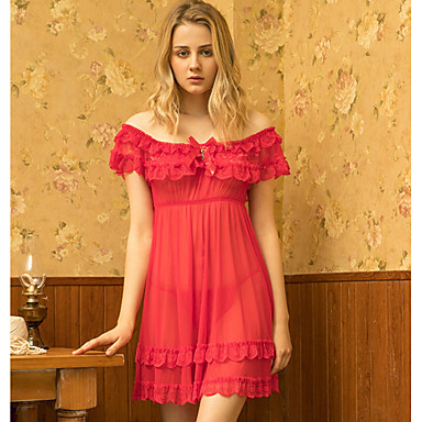 cheap Robes & Pajamas-Women's Gartered Lingerie Nightwear - Lace Solid Colored