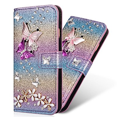 cheap Galaxy S6 Edge Cases / Covers-Case For Samsung Galaxy S9 / S9 Plus / S8 Plus Wallet / Card Holder / Rhinestone Full Body Cases Heart / Glitter Shine Hard PU Leather