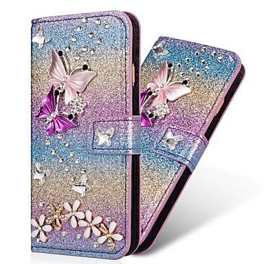 voordelige Galaxy S-serie hoesjes / covers-hoesje Voor Samsung Galaxy S9 / S9 Plus / S8 Plus Portemonnee / Kaarthouder / Strass Volledig hoesje Hart / Glitterglans Hard PU-nahka