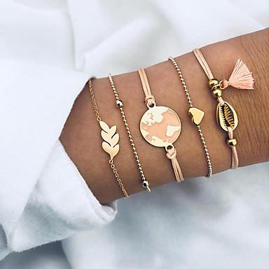 economico Bracciali-5 pezzi Per donna Bracciali con ciondoli Bracciali d'epoca Nappa Mappe Cuori Conchiglia Stile Boho Di tendenza Elegante Lega Gioielli braccialetto Oro Per Feste Regalo
