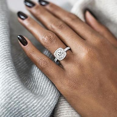 billige Damesmykker-Dame Statement Ring / Forlovelsesring / Belle Ring Diamant / Kubisk Zirkonium 1pc Gull / Sølv / Rose Gull Sølvplett / Gullbelagt damer / Europeisk / Brude Bryllup / Fest / jubileum Kostyme smykker