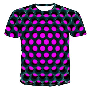 billige Herrers Mode Beklædning-Rund hals Herre - Farveblok / 3D / Grafisk Trykt mønster T-shirt Lilla XXXXL